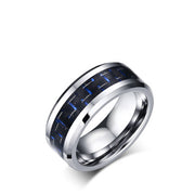 Carbon Fiber - Black/Blue Ring In Tungsten Carbide (6.0 Grams) - P/N: 708744109132 - Overnight Composites