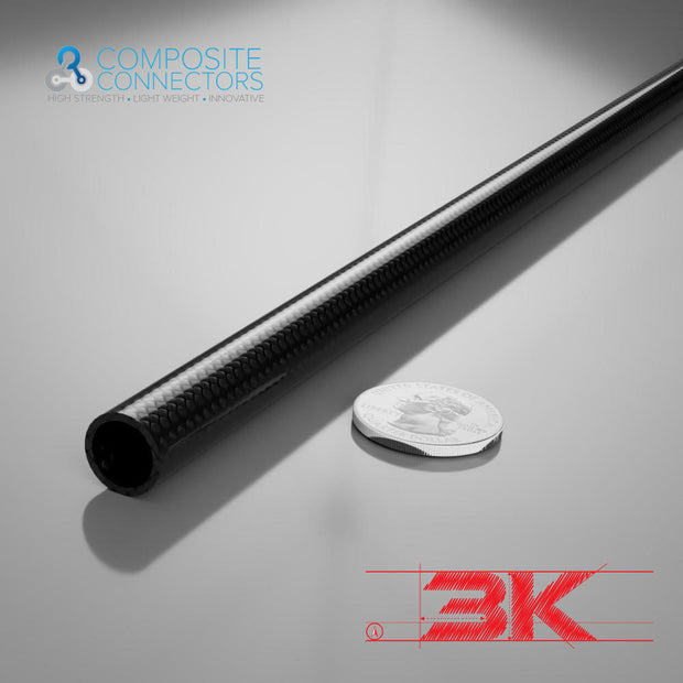 10mm Round OD x 8mm ID x 1mm Wall Section x 1 Meter- 3K Weave Round Carbon Fiber Tube (9.0 Grams) - PN 708744108258 - Overnight Composites