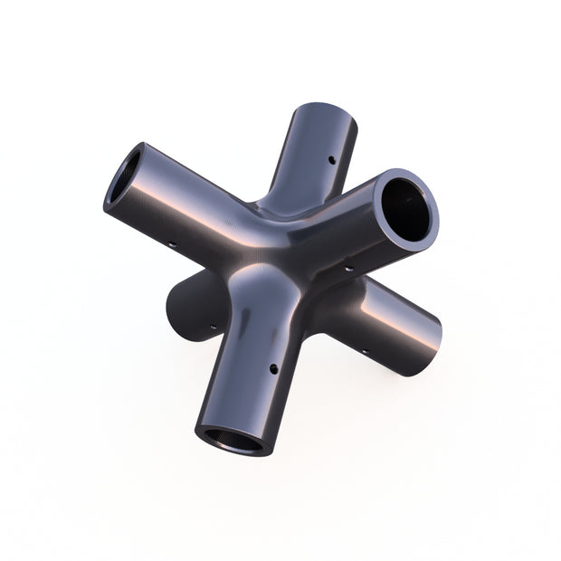 20mm Round 90º 6-Way Composite Connector (81.0 Grams)  - PN 708744108654 - Overnight Composites
