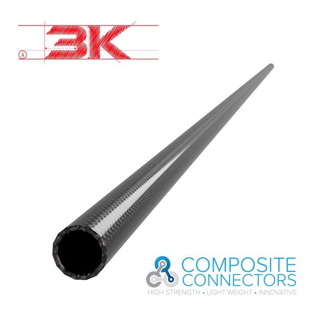 6mm Round OD x 4mm ID x 1 Meter - 3K Weave Round Tube (23.0 Grams) - PN 708744108234 - Overnight Composites