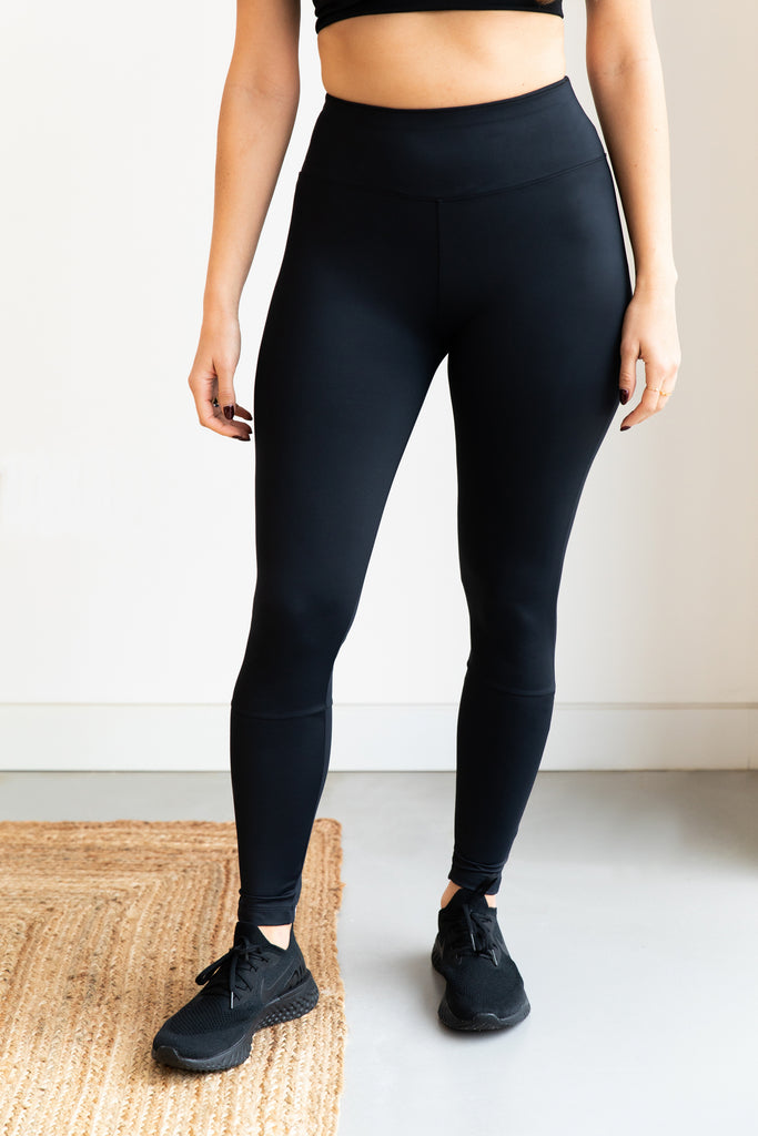high waisted black workout leggings made from recycled fabric
