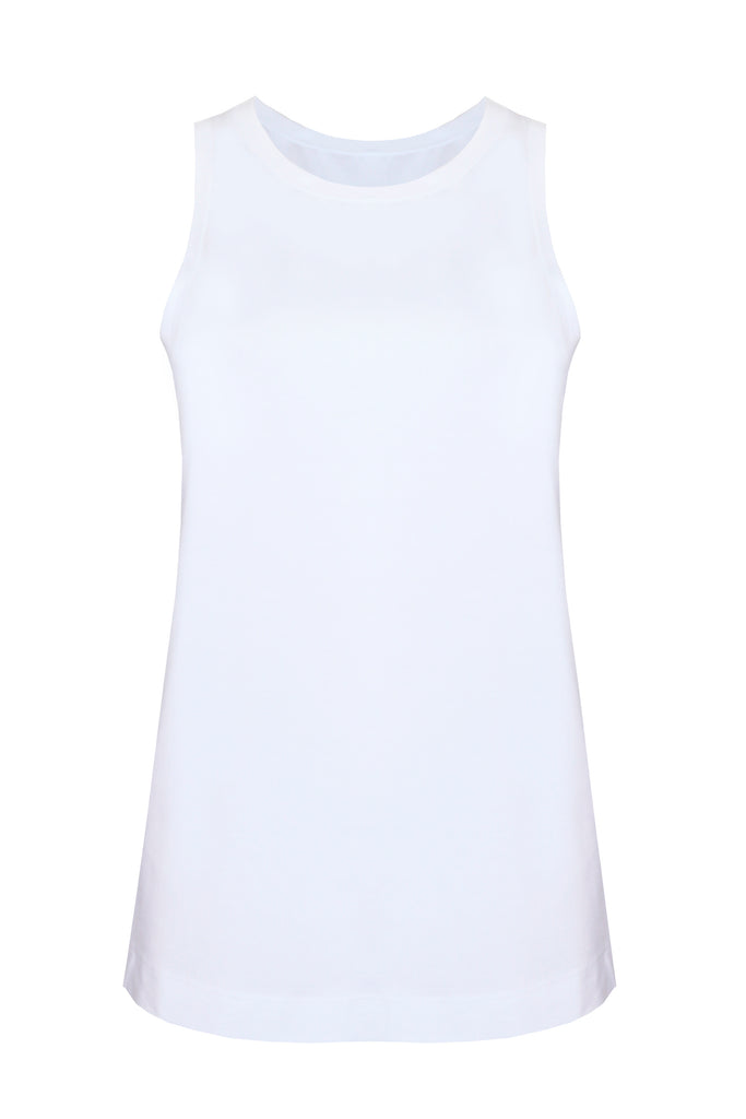 white workout top made from tencel