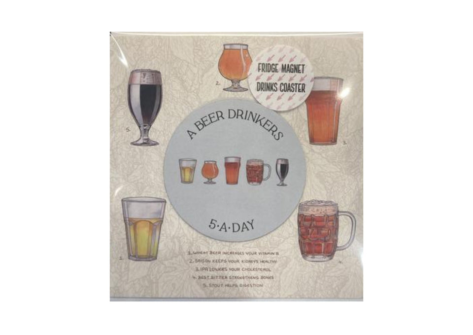 Beer 5-A-Day Greetings Card xx