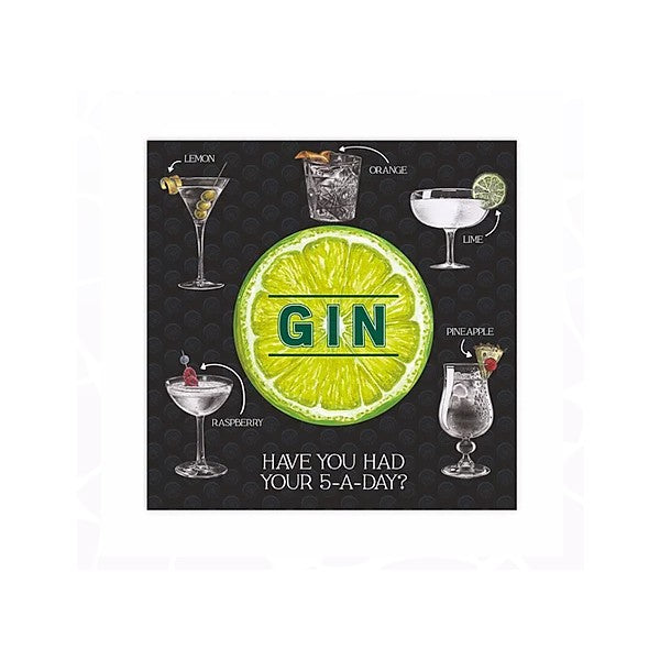 Gin Lime Greetings Card (with magnet) xx