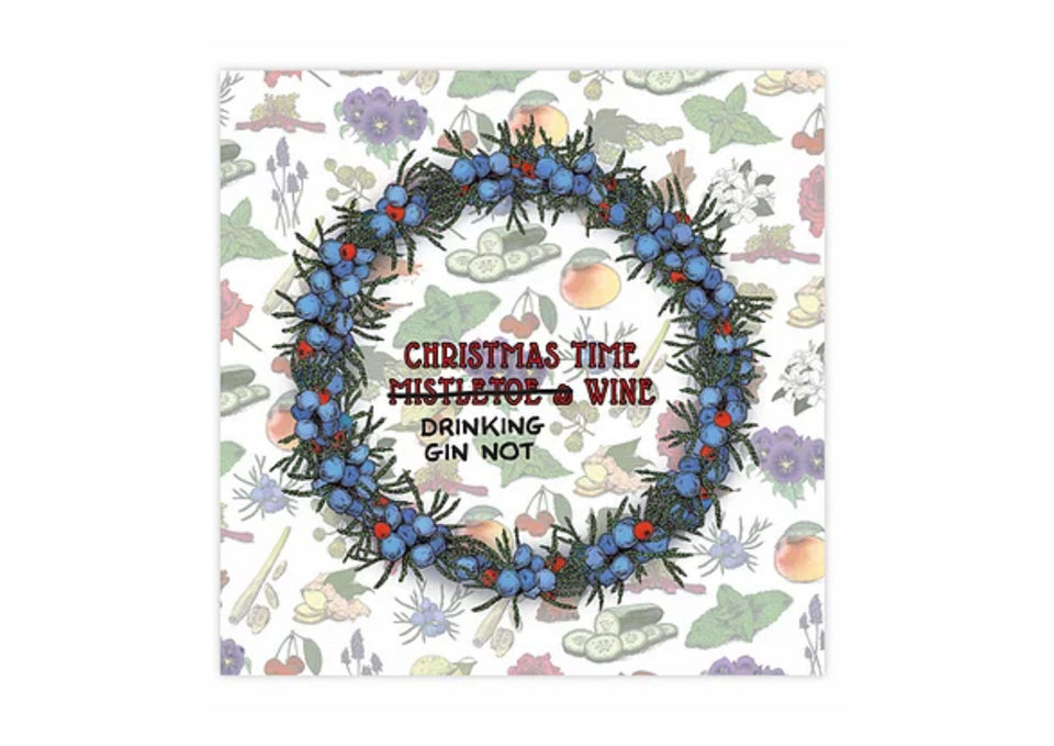 Gin Wreath Christmas Greetings Card xx