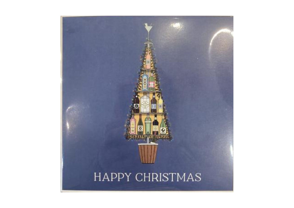 Happy Christmas Bottle Tree Greetings Card xx