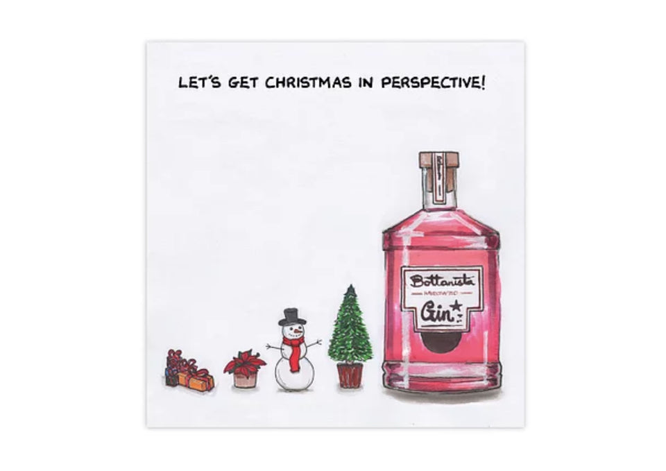 Let's Get Christmas In Perspective Gin Greetings Card xx