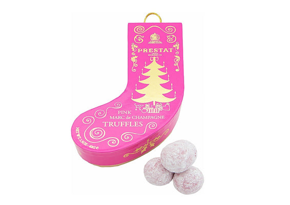 Marc de Champagne Truffles in pink Christmas stocking