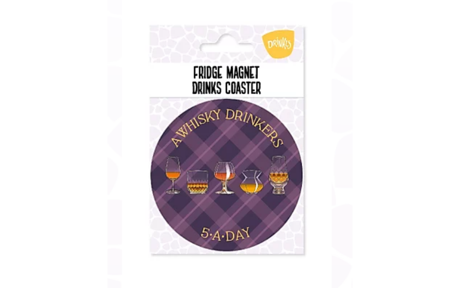 Whisky '5-A-Day' Fridge Magnet & Coaster xx