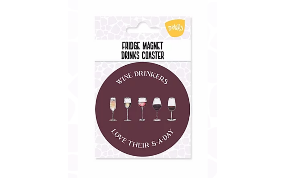 Wine '5-A-Day' Fridge Magnet & Coaster xx