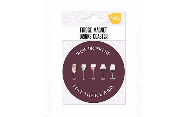 Wine '5-A-Day' Fridge Magnet & Coaster