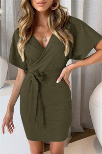 V Neck Wrap Dress
