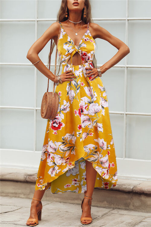 Floral Knot-Front Maxi Dress
