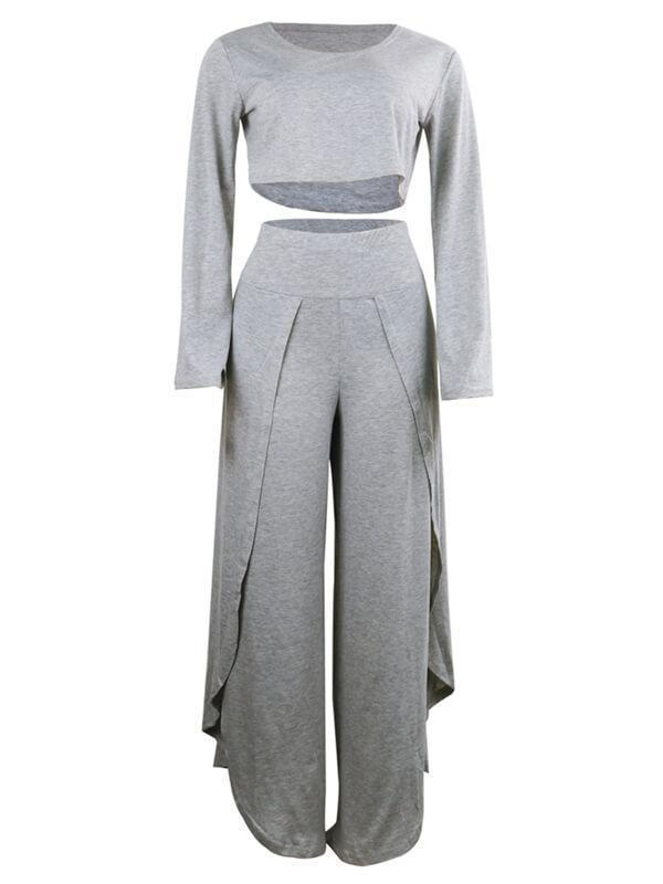 Solid Crop Top & Slit Pants Set