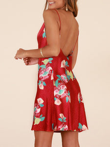 Satin Printed Strap Dress