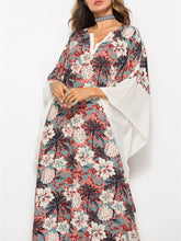 Load image into Gallery viewer, Floral Contrast Caftan Dress