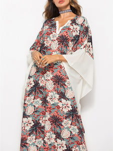 Floral Contrast Caftan Dress