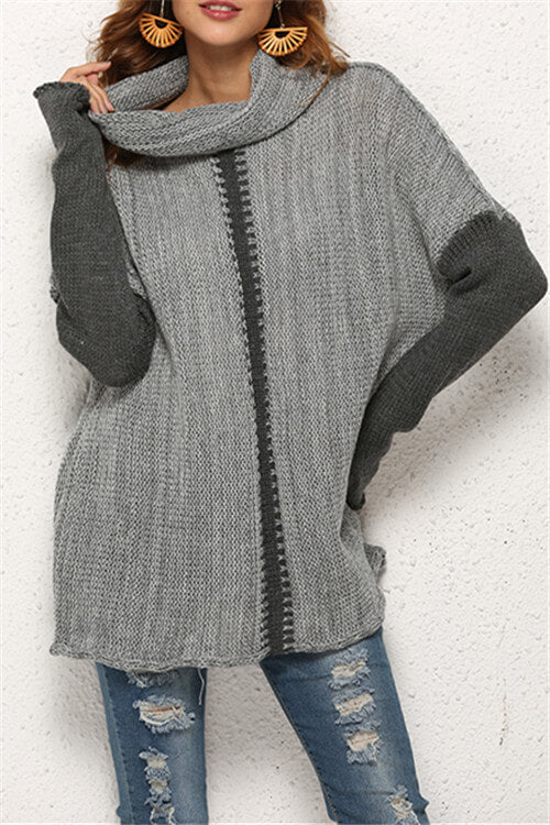 Cowl-Neck Two-Tone Sweater
