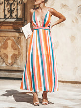 Load image into Gallery viewer, Deep V Crisscross Back Stripe Maxi Dress