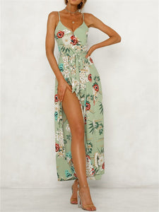 V-Neck Floral Printed Spaghetti Strap Backless Split Jumpsuit