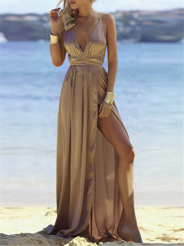 Spaghetti Deep V Backless Maxi Dress