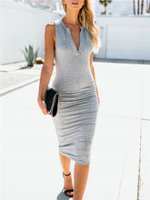 Load image into Gallery viewer, V Neck Sleeveless Bodycon Dress