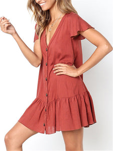 Ruffle Button Down V Neck Mini Dress