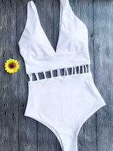 Load image into Gallery viewer, White Hollow One-Piece Swimsuit