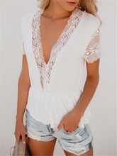 Load image into Gallery viewer, V Neck Lace Stitching Ruffle T-Shirt