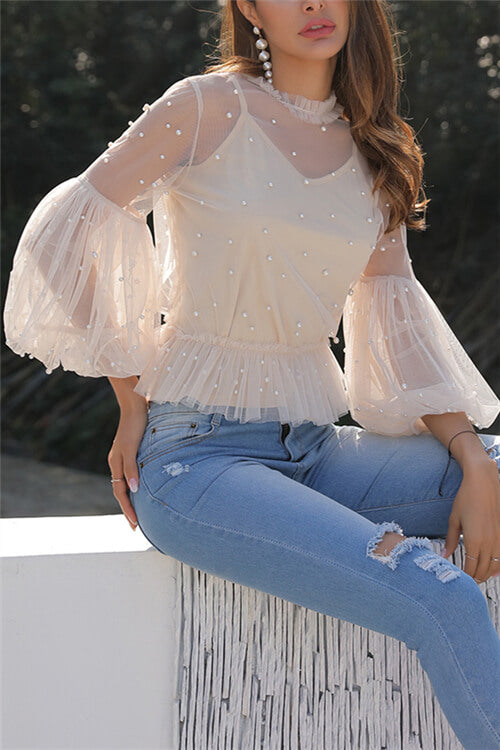 Pearl Studded Mesh Top