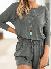 Load image into Gallery viewer, Drawstring Cotton Romper