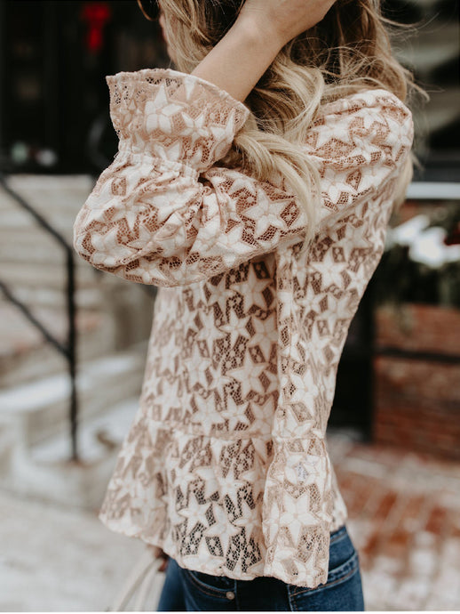 Hollow Perspective Star Long Sleeve Blouse