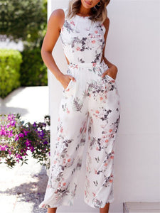 Floral Print Sleeveless Back Tied Jumpsuit
