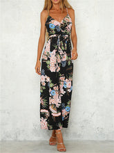 Load image into Gallery viewer, V-Neck Floral Printed Spaghetti Strap Backless Split Jumpsuit