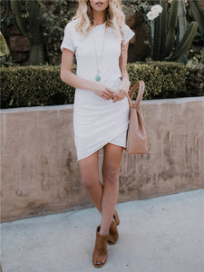Tulip-Hem Solid Color Midi Dress