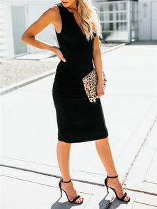 V Neck Sleeveless Bodycon Dress