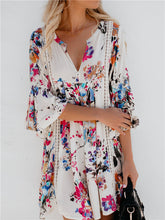 Load image into Gallery viewer, Floral Print V-Neck Bell Sleeve Dress