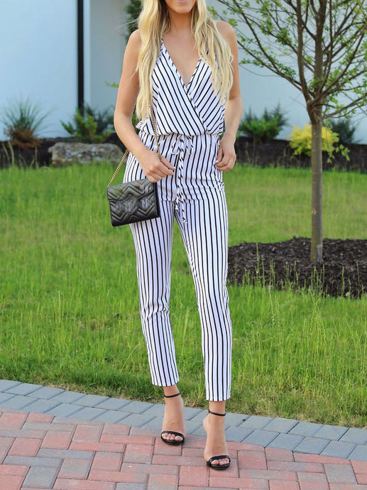 Black And White Stripes Deep V Jumpsuit