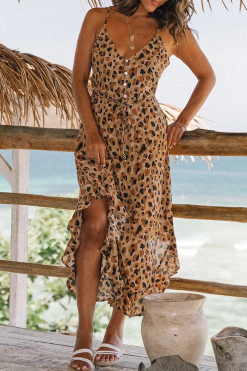 Ruffled Leopard Print Dress