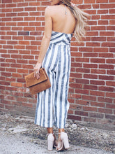 Load image into Gallery viewer, Halter Striped Jumpsuit