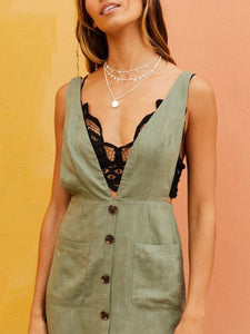 Green Casual Strap Dress