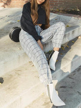 Load image into Gallery viewer, Plaid High Waist Casual Pants