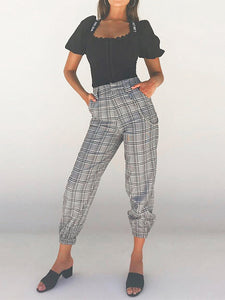 Plaid High Waist Casual Pants