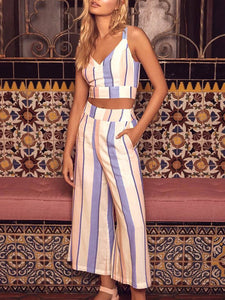 Striped V Neck Crop Top & Wide Leg Pants Two Piece