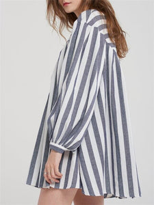 Stripe Long-Sleeve Mini Dress