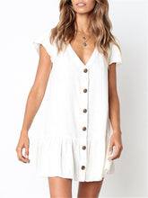 Load image into Gallery viewer, Ruffle Button Down V Neck Mini Dress
