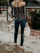 Load image into Gallery viewer, Color Striped Long Shoulder Shirt