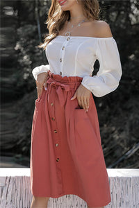 Button-Down Skirt With Belt