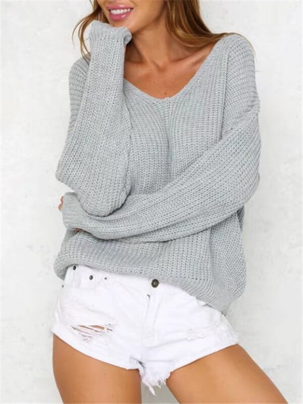 Lace-up Back Sweater-Clearance