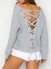 Load image into Gallery viewer, Lace-up Back Sweater-Clearance